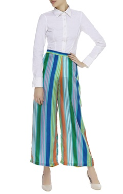 Blue striped flared pant
