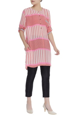 Red and white striped tunic