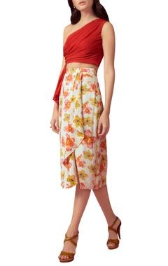Floral printed draped skirt