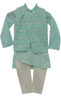 Cotton kurta with nehru jacket & churidar