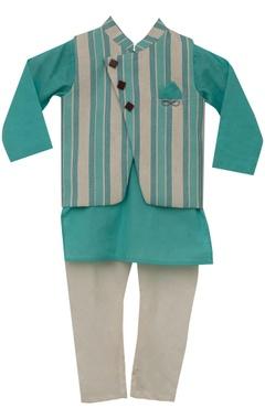 Fayon Kids Stripe print nehru jacket with kurta & churidar