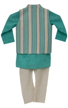Stripe print nehru jacket with kurta & churidar