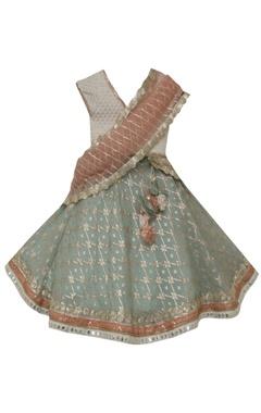 Fayon Kids Sequin work blouse with dupatta & churidar