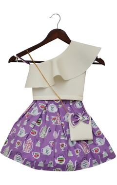 Fayon Kids Lycra top with cotton printed skirt