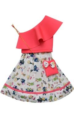Fayon Kids Layered top with printed skirt