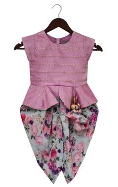 Peplum top with dhoti pants