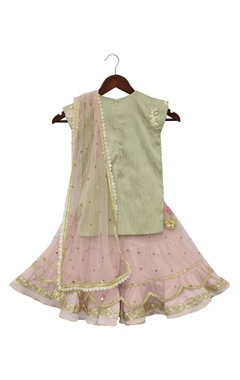 Embroidered kurti with sharara pants & dupatta