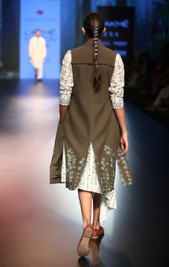 Thread work embroidered asymmetric shirt dress
