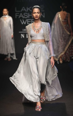 Punit Balana Embroidered cape with bralette & dhoti pants