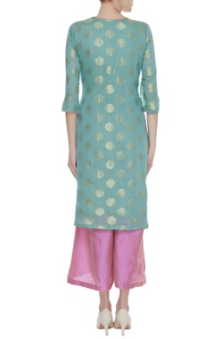 Chanderi silk kurta with palazzo & dupatta