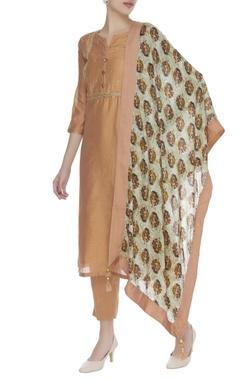 Zari work embroidered kurta set with floral printed dupatta