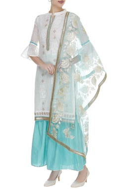 Embroidered kurta with palazzo pants & embroidered dupatta