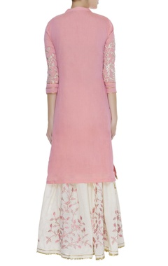 Straight fit kurta with printed palazzo & dupatta
