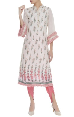 Flower printed kurta & dhoti pants