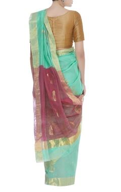 Pure chanderi paisley sari & unstitched blouse
