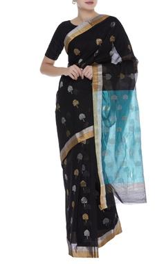 Chanderi sari in zari motifs with unstitched blouse