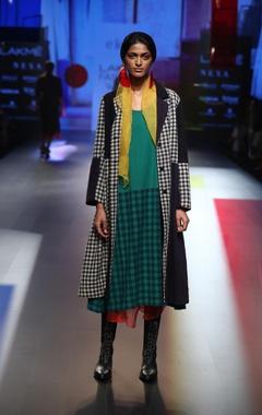 EKA Block printed dress with patchwork jacket & skirt