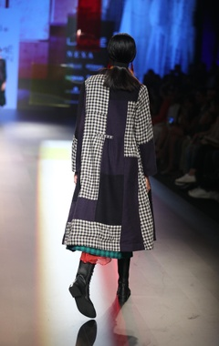 Block printed dress with patchwork jacket & skirt
