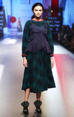 EKA Merino wool checkered dress with bustier