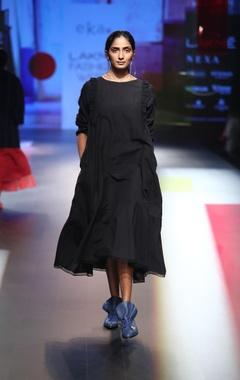 EKA Ruffle layered wool & silk linen dress
