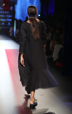 Ruffle layered wool & silk linen dress