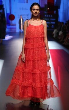 EKA Organza ruffle maxi dress