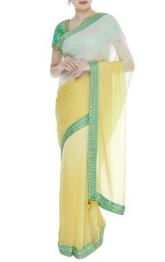 Dupion silk jacquard sari with blouse