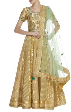 Zardozi chanderi & tissue lehenga set