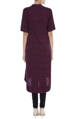 Ikat embroidered asymmetric tunic