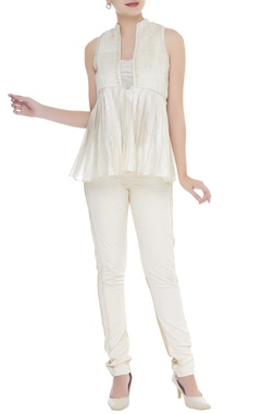 Chanderi silk pleated yoke blouse