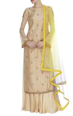 Chanderi silk resham embroidered kurta set