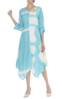 Abstract print asymmetric dress