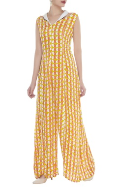 Block print jumpsuit with collar detail