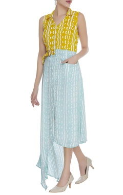 Block printed asymmetric midi dress