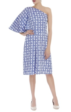 One shoulder block print dress