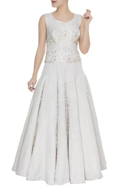 Embellished pleated anarkali gown