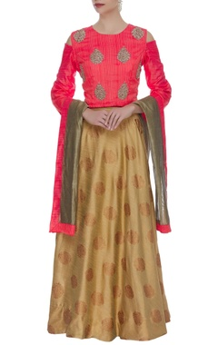 Embroidered cold shoulder blouse lehenga set