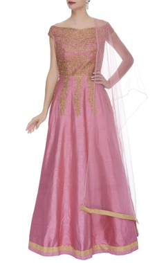 Embroidered anarkali gown with dupatta