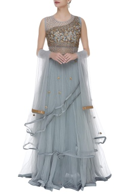 Embroidered gown with dupatta