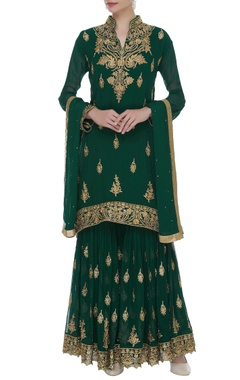 Embroidered kurta with sharara & dupatta