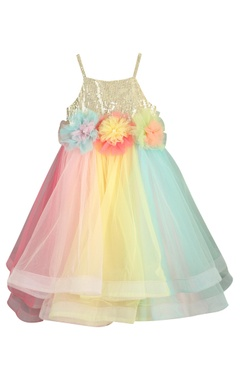 Sugar Candy Big flower motif embroidered flared gown