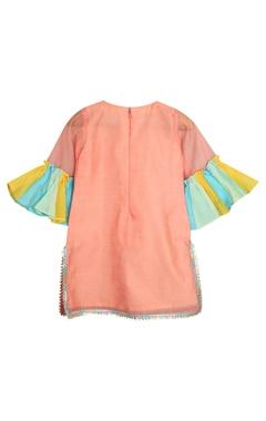 Frill sleeves kurta with pants and dupatta