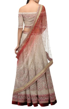 Oriental Ceramic and Pottery inspired embroidered lehenga set