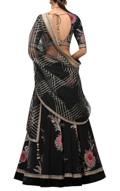 Floral embroidered lehenga with dupatta and blouse