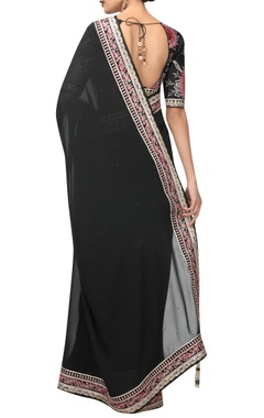 Floral & swarovski embroidered sari & blouse with petticoat