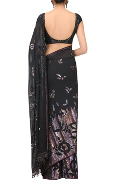 Hand embroidered Sequin sari with blouse & petticoat