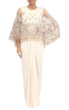Tarun Tahiliani Hand embroidered cape with embellished fringes