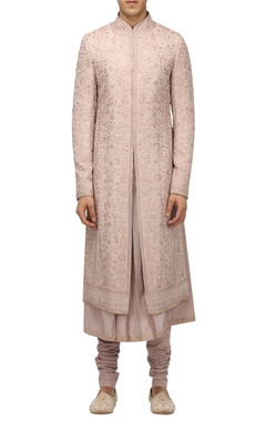 Tarun Tahiliani - Men Floral artwork sherwani with kurta & churidar