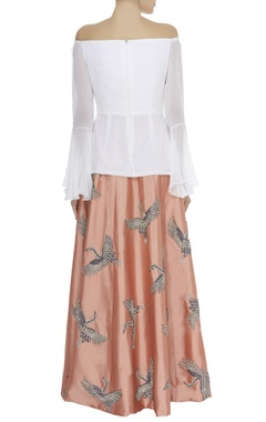 Off shoulder top with embroidered skirt