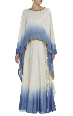 Embroidered ombre cape top with skirt